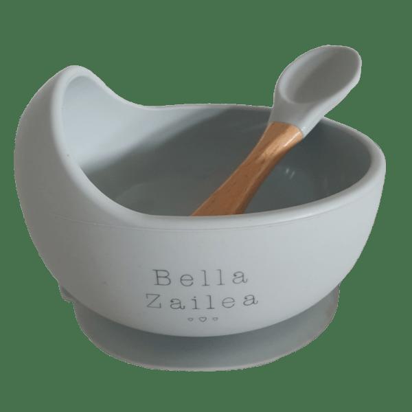 Bella Zailea | Silicone Suction Bowl + Spoon | Light Grey