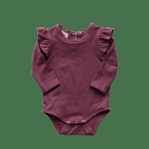 Lulu and Milly | Long Sleeve Flutter Bodysuit | Grape